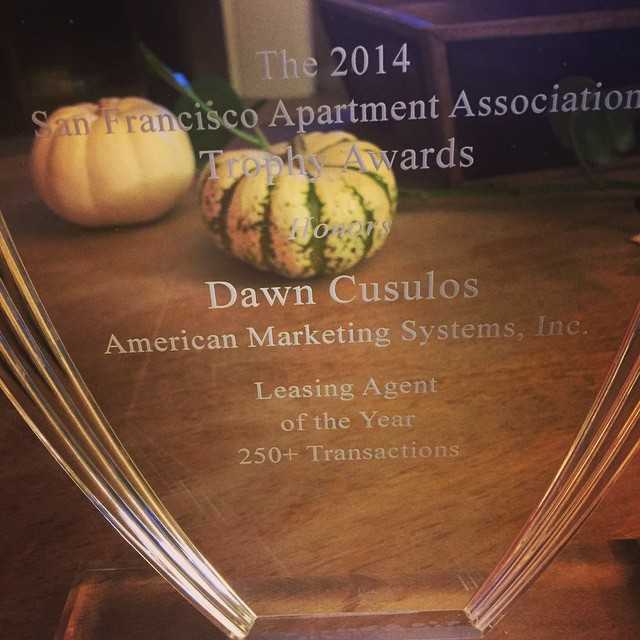 Dawn Cusulos Has Been Awarded Leasing Agent of The Year